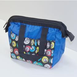 Bingo Bag Blue Bingo Ball Print Square  W/ Zipper 6 Pocket