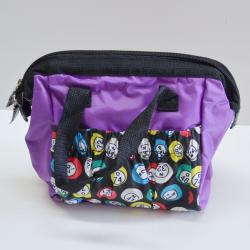 Bingo Bag Purple Bingo Ball Print Square  W/ Zipper 6 Pocket