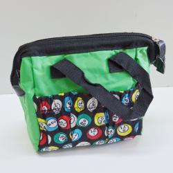 Bingo Bag Green Bingo Ball Print Square  W/ Zipper 6 Pocket