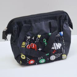 Bingo Bag Black Space Ball Print Square  W/ Zipper 6 Pocket