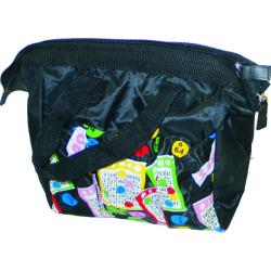 Bingo Bag Black Lucky Bingo Print Square  W/ Zipper 6 Pocket