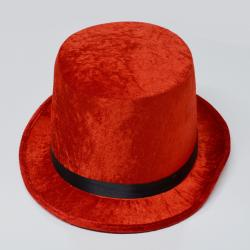 Tall Red Velfelt Top Hat
