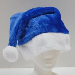 Deluxe Plush Blue Santa / Hanukkah Hat- Large Adult Size