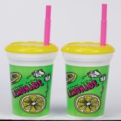 32 Ounce Plastic Lemonade Cup with Lid and Straw- Case of 200