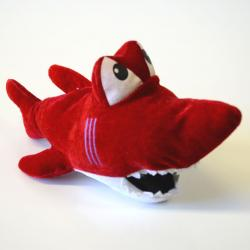 Plush Shark- 11 Inch - Red with White Trim