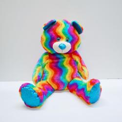 Giant Plush Rainbow Bear- 32 Inch Sitting- High Pile Rainbow Plush