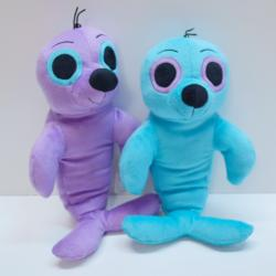 Plush Seal w/Big Eyes- 15 Inches- Purple and Blue Assorted