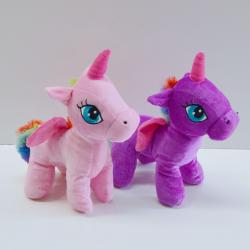 Plush Unicorn- 10 Inch- Pink and Purple Assorted w/Rainbow Mane and Tail