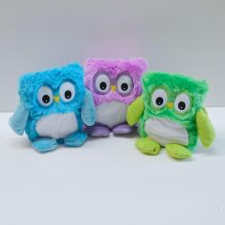 Plush Owl- 8 inch- Purple, Green and Blue Assorted