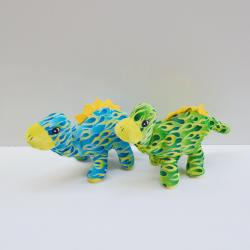 Plush Dinosaur w/Flame Pattern- 15 Inch- Blue and Green Assorted