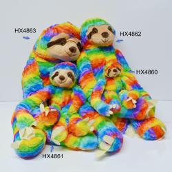 Medium Plush Rainbow Sloth- 11 Inch- High Pile Material w/Velcro Hands