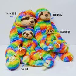 Jumbo Plush Rainbow Sloth- 35 Inch- High Pile Material w/ Velcro Hands