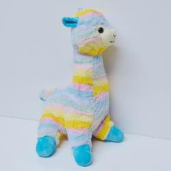 Large Plush Pastel Llama- 20 Inch- Striped Multicolors